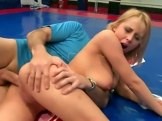 He promises Mandi to give her a good fuck in the ass if she defeats her opponent. Mandi loves to feel a big cock coming through the backdoor, so she puts in everything to win the match.