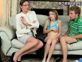 Sexy stepmom caught teen couple fucking