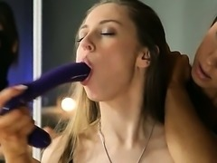 Young girls in nice dress gagging dildo