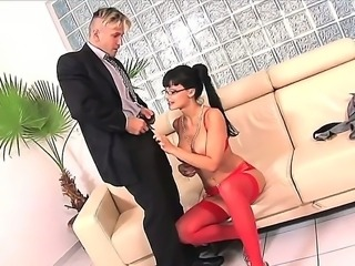 Cock addicted black haired seductive milf