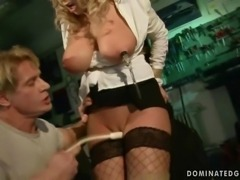 Busty beauty gets bondaged and fucked rough