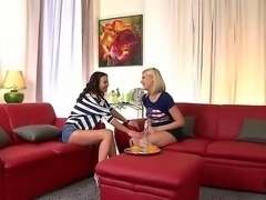 Alysa and Lucy heart seducing their neighbor cyclist boy in the living room