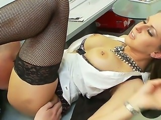 Rachel Roxx is bored at work and thats why she is banging with her muscled boss