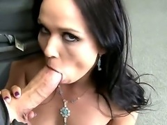 Lusty dark haired amateur girl Ally Style enjoys in giving head in a point of...