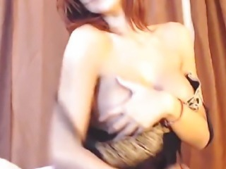Beautiful Busty Redhead in Lingerie Sucks her Toy