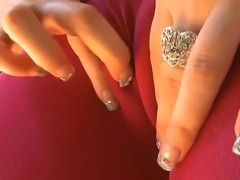 Slutty blonde Briella Bounce with long whorish nails and natural boobies in...