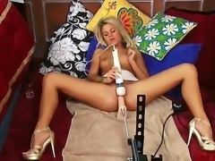 Jessa Rhodes goes wild with the giant Hitachi and a fucking machine. Working her bald pussy for all its worth, she fucks and rumbles her snatch into the stratosphere.