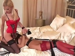 Sexy femdom bitch Jasmine Rouge adores total control over her lesbian slave...