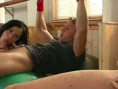 Funny sex scene with two young couples, that decided to fuck on the gym...