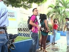 Liz Paola and her naughty friends prefers to strip and bang in public places