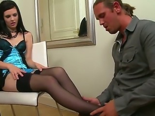 Timea Bela starts off her career with an encounter with Tomas aka Tarzan as she gives him a footjob that pulls a massive load out of this hung cocksman.