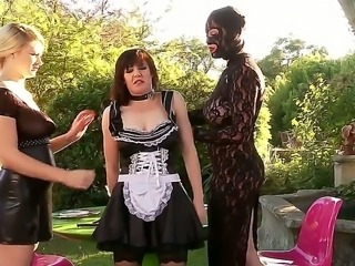 Three BDSM bitches Ruby Rubber, Samantha Bentley and Tegan Jane having rude lesbian slave fuck outdoor!