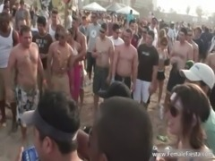 Stiff party time on the beach and babes free