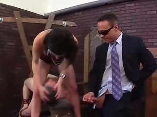 Watch great scene where Kurt Lockwood is spending great time with cheating wife Veruca James that is getting fucked before her tied up hubby. Examine what stranger does with slut.