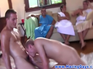 Frat house homos wrestle and fuck ass for their initiation exercise