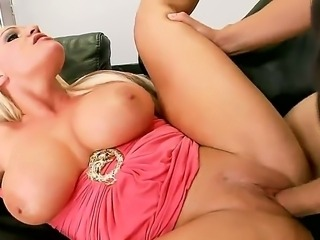 Buxom blonde Sadie Swede knocked at her neighbor to ask him to make music...
