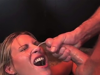 Amazing and hot deepthroat after which Harmony Rose gets a hot sperm on her...