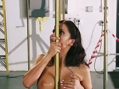 Petite brunette with incredible round boobs Aleksa Nicole is a little bit shy...