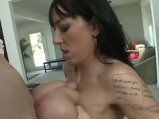 Alia Janine gives superb titjob with her giant boobs and also she licks and...
