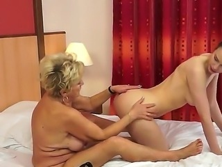 Beata and Mayla make sweet lesbian love in bed together, despite their 20...
