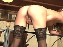 Hot babe in sexy stockings Cindy Hope shows us how to gets real orgasms using...