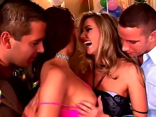 Hot sex party with sweet naughty lesbians Cherry Jul and adorable Cindy!