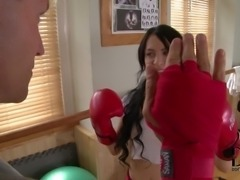 Skinny black haired teen Sandra Luberc learns more about boxing