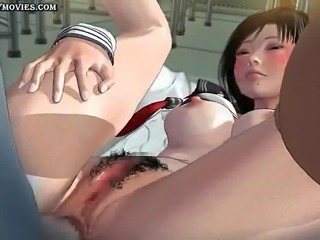 Animated babe gets her hairy cunt drilled