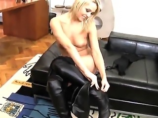 Blonde whore Kitty A makes Roccos huge dick wet using her mouth. Babes needs to makes it really wet, because this cock want to attack her asshole.