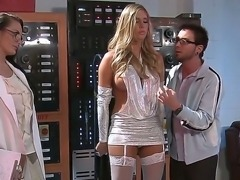Adorable Samantha Saint uses her sensual lips to satisfy horny males stiff cock