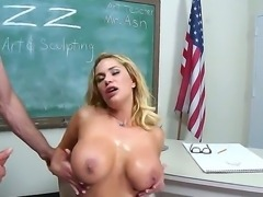 Jordan Ash fucking hard his tight and big boobed blonde teacher Shyla Stylez...
