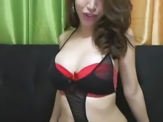 Busty Shemale Hottie Tugging her Hard Cock