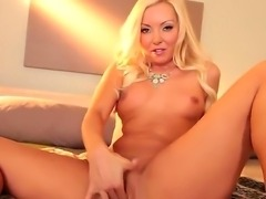 Perfect looking babe Aaliyah Love strokes her bald sweet pussy and gets so...