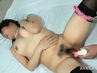 Shy Asian Getting Her Hairy Pussy Dildo Stimulated