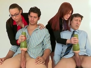 Chanel and Brooklyn are beta testing a new dicks in their company. The new applicants must undergo the initiation procedures involving their dicks. That handwork gives them hard erection.