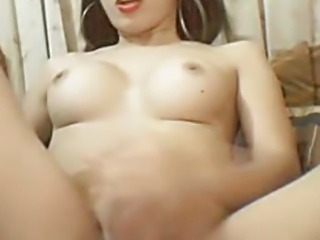 Busty Asian Tranny Jerking Off her Big Hard Cock