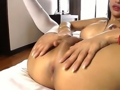 Ladyboy from Asian are showing us her big and hard cock, and how she can wank...