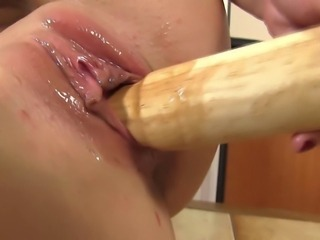 Blond babes gapping pussy takes the bat in her pussy HD