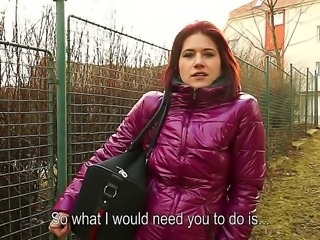 Adorable European redhead Lucie doesnt usually talk to strangers, but this guy with a camera finds a way to convince her to show him her lovely tits and bouncy butt right on the street.