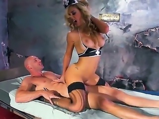 Naughty doctor Cherie DeVille tries to lead to feelings Johnny Sins in the military hospital