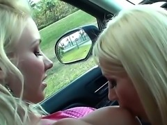 Two blonde lesbians are burning with
