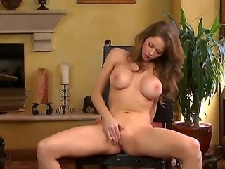 Busty lady Emily Addison masturbates with her fingers before she will go to the university
