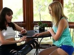 Innocent looking babysitter Chastity Lynn seduces by horny milf Dana DeArmond