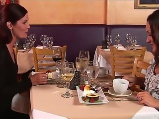 Mature babe seduced a young waitor right at the restaurant after dinner with her friend