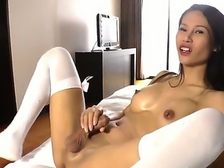 Long haired petite asian shemale Sai