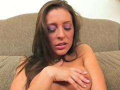 Glamour temptress Gracie Glam slowly takes off her panties to show her...