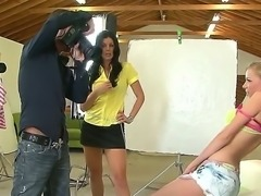 Sexy dark haired and hot milf India Summer helps young and really shy blonde...