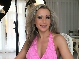 Curly haired milf Angie Angel has three way to be fucked and all of them are well studied