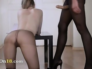 19yo schoolmate gets fuck from strap on
