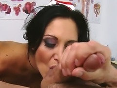 Cute nurse Ava Addams seduces one of her patients Peter North to have fun....